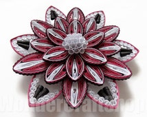 flower home decor, blooming flower, dark pink flower, paper flower, flower wall art, flower ornament, mothers day gift, unique gift for wife