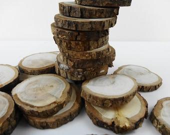"2""-2.5"" Tree Slices, Wood Slices, Oak Wood Slices, Oak Branch Slices, Wedding Decor, Wodworking, DIY Wood, Crafts, Set of 30"