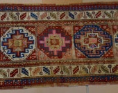 "Very Fine Caucasian Hand Knotted Rug 3' 6""x 9' 5"" Estate Find- ANTIQUE"