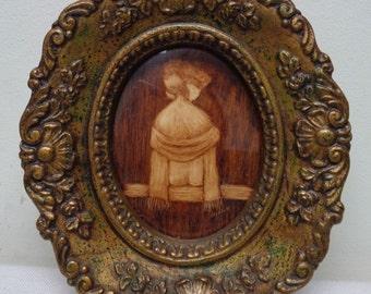 Vintage Hilli G. Girl on Bench Decorative Art w. Very Ornate Gold Antique Frame