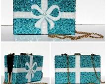 Aqua Blue Clutch- Bridal Accessory Handbag featuring Aqua Crystals and White Pearl with Shoulder Strap- Swarovski Crystal Clutch