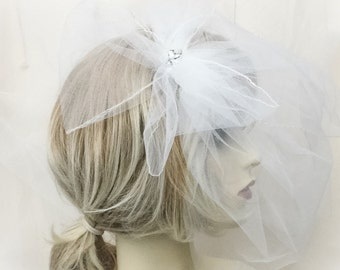 Bridal veil, wedding veil, Birdcage veil, ivory birdcage veil, tulle birdcage veil, small netting veil, small veil, ready to ship,
