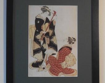 """Mounted and Framed - Rehearsing a New Song Print - Kitao Shigemasa - 16"""" x 12"""" - Japanese Art"""