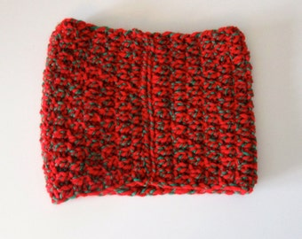 Red & Green Hand Knit Neck Warmer