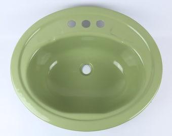 Mid Century Green Enamel Over Metal Sink *Very Clean*
