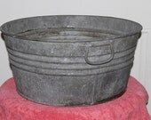 Vintage Thick Galvanized Tub, Bucket, Wash Tub, Handles on Each Side, A Small Dent or Two Holds Water, No Holes, Great Farmhouse Collectible