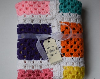 Colored Blocks Baby Blanket (Crochet)