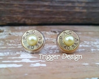 40 Caliber Bullet Casing Post Earrings- Yellow Pearl