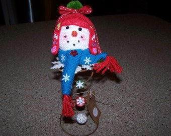 Snowman-Bed Spring-Xmas decoration-Tree topper-Rusty bed spring