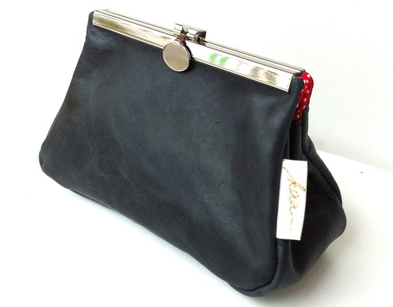 Cosmetic pouch black leather,small leather clutch, black leather bag small