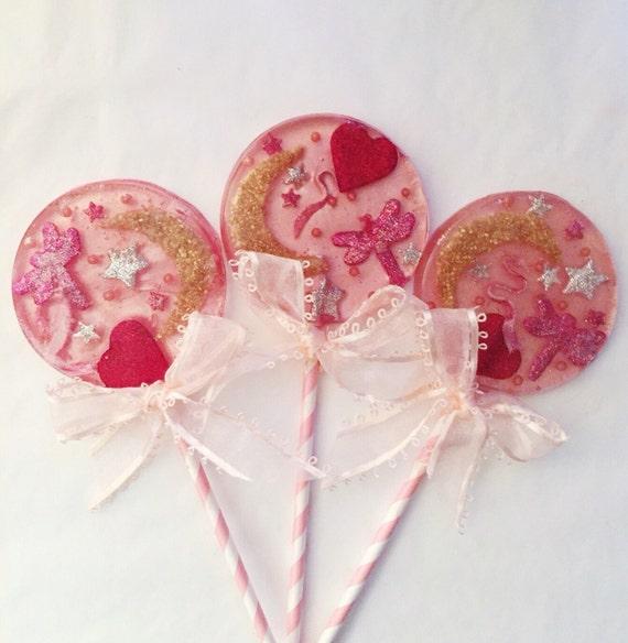 3 Raspberry Cream Pink Celestial Applique Lollipops