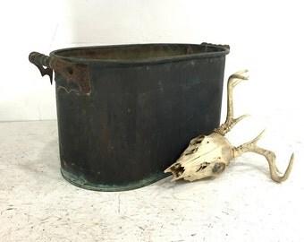 Vintage Copper Boiler, Rustic Copper Tub, Farmhouse Canning Tub, Copper Tub, Antique Copper Boiler, Garden Decor, Planter