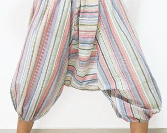 Blue Pink stripes cotton capris harem pants baggy yoga capris Aladdin pants baggy yoga pants tribal harem pants festival pants capri pants