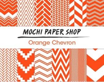 Orange Chevron Digital Paper, Chevron Download, 12 Chevron Designs, Zig Zag Patterns, Chevron Cardmaking, Chevron Printables, Chevron PNG