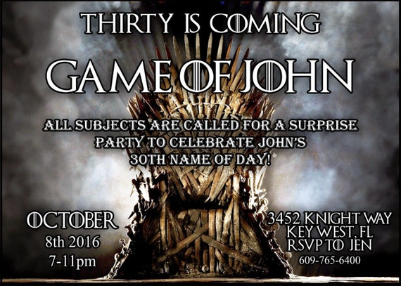 Game of thrones invitation digital download game of thrones for Game of thrones birthday party