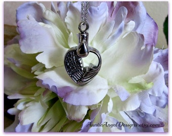 Tears of an Angel Cremation Urn Necklace; Angel Wing Heart Ashes Urn; Guardian Angel Jewelry; In Loving Memory Pendant Urn; Pet Ashes Holder
