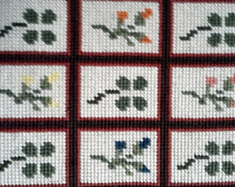 Little lattice of acorns, flowers and clover - vintage hand stitched needlepoint tapestry