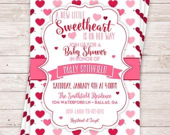 Printable Little Sweetheart Baby Shower Invitation - Valentine's Day Invitation - February Baby Shower - Girl Baby Shower Invite