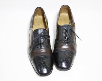 vtg italian two toned black&brown cap toe lady's heeled oxfords, Size : EU 40 / US Women's 9  1/2 / UK Women's 6 1/2