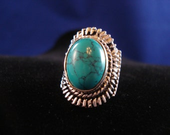 Easy & Fun Turquoise and Sterling Silver Ring Great for everyday Wear