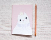 Cat Princess Pink A6 Notebook, Blank Notebook, Colorful Notebook, A6 Bullet Journal, Gifts for Cat Lover, Journal, Fauxdori Insert
