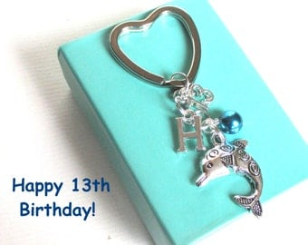 13th birthday gift - Dolphin keychain - Personalised 13th keyring - 13th keychain - Dolphin keyring with pearl - Initial keyring - Etsy UK