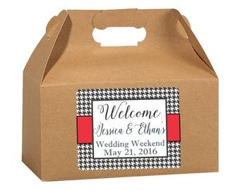 Gable Box Labels, Houndstooth Design, Elegant Wedding Labels, Custom Wedding, Favor Box Stickers