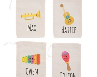 Musical Instruments {set of 10} Personalized Musical Kids Birthday Party Custom Party Favor Bags Guitar
