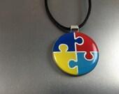 Round Autism Awareness Pendant, Autism Awareness Jewelry, Puzzle Piece Pendant, Autism mom, Autism pendant, Autism Awareness necklace