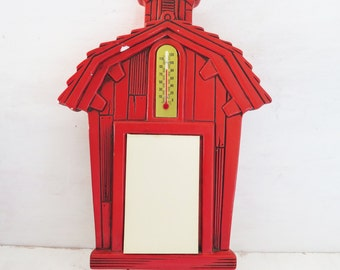 Vintage Red School House/Barn Chalk ware Wall Thermometer and Note Pad 1978 Miller Studio