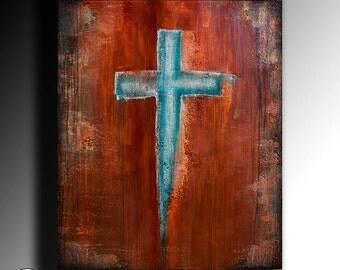 Cross Art Abstract Painting Acrylic Painting Large wall Art Fine Art Orginal painting colour modern crucifix contemporary art by Anna Bulka