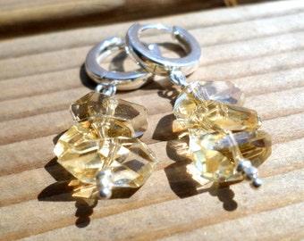 Citrine Earrings and Hill Tribe Silver, November Birthstone, Sterling Silver European Hoop Earrings, AAA Citrine, Pierced Earrings