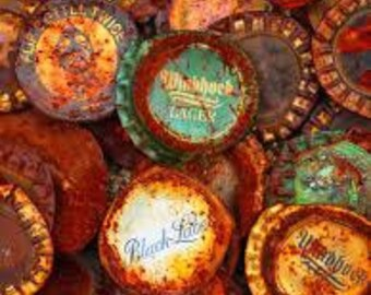 240-Pack, Tarnished Beer Bottle Caps--Used, Mix of: Flattened  and not so flattened caps, Rusty, Aged/worn, bent/folded in half, some newer