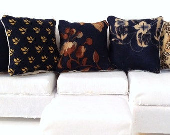 Country Dollhouse Pillows, 5 Piece Navy Blue & Tan Pillow Set 1:12 Pillow Set, Rustic Fashion Doll Pillow, Fashion Doll Miniature Pillows