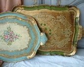Set of 2 vintage Florentine trays. Ivory,  gold, red, green. Shabby chic. Cottage chic. Italian tea tray.