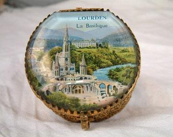 Vintage french glass gilded brass 'ormolu' look jewelry box. Lourdes rosary jewel box. Glass jewelry box. Glass ring box. Souvenir box.