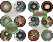 Cogs & Gears Cupcake Toppers Printable Steampunk Aluminum Iron Copper Steel Metal Tones 12 Industrial Cake Topper Party Tags Digital Sheet