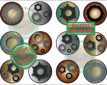 Steampunk Cupcake Toppers Printable Cog & Gears Aluminum Iron Copper Steel Metal Tones 12 Industrial Cake Topper Party Tags Digital Sheet