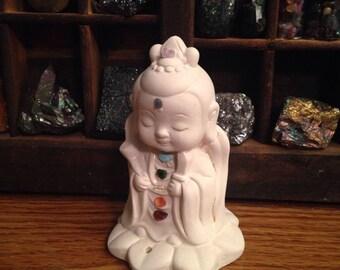 Chakra Kwan Yin figurine incense holder