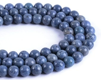 8mm186 Blue Sponge Coral round ball loose gemstone beads 16""