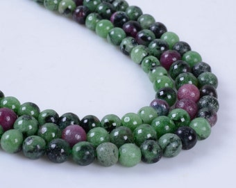 """4MM325 4mm Green ruby zoisite round ball loose gemstone beads 16"""""""