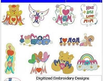 Embroidery Design CD - Mom(1) - 10 Designs - 9 Formats - Threadart