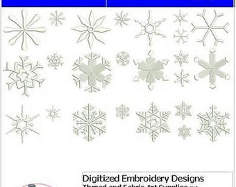 Embroidery Design CD - Snowflakes(1) - 24 Designs - 9 Formats - Threadart
