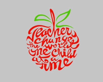 Teachers Change the world one child at a time decal | Vinyl Decal | Teacher Decal | Yeti Teacher Decal | Teacher Gift