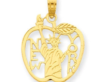 Cut Out New York with Statue of Liberty in Apple Pendant (JC-053)