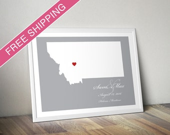 Personalized Montana Wedding Gift : Custom Location and Map Print - Engagement Gift, Housewarming Gift - Wedding Guest Book Poster