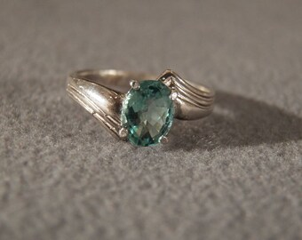 Sterling Silver Blue Topaz Ring with a Wide Band , Size 9 Jewelry **RL
