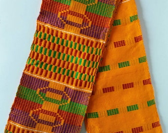 Authentic African Kente Cloth Stole, Scarf, Made in Ghana, Multi-Color