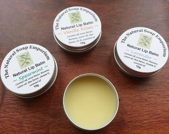 Natural Lip Balm with Beeswax- French Lavender, Spearmint or Vanilla Kisses