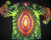 LSL47 Psychedelic Turtle Egg w/Spine on Back, Long Sleeve Tie Dye T-shirt, Fits Unisex Large